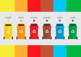 Sorteren van stortplaatsen vuilnisbakken vector