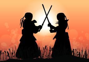 Kendo meester vecht in de zonsondergang vector
