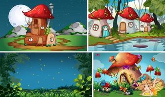 vier verschillende scènes uit de fantasiewereld