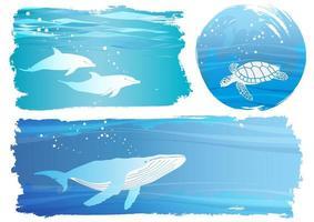 onderwaterdieren met blauwe banner set