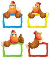 lege teken sjablonen met kippen op witte achtergrond