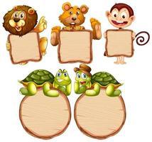 lege teken sjabloon met schattige dieren set
