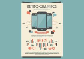 Retro mobiele grafieken en tabellen set vector