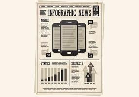 Krant Mobiele Pictogrammen Vector