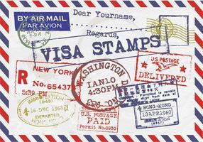 Visa Postzegels Vintage Briefkaart Vector