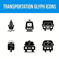 transport glyph 6 iconen set