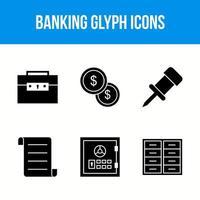 bancaire glyph pictogrammen