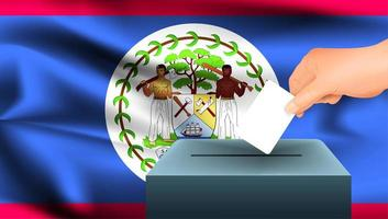 hand stemming in doos met vlag van belize zetten
