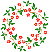 rode bloem en bladeren frame