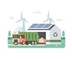 prullenbakken met eco-energie en zonnepaneel vector