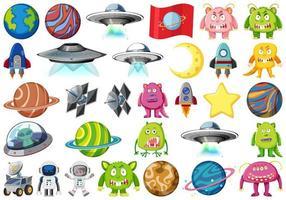 verzameling geïsoleerde ruimtevoorwerpen vector