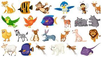 Verzameling van geïsoleerde cartoon wilde dieren vector