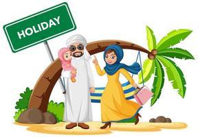 arabische familie op vakantie vector