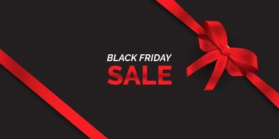 zwarte vrijdag verkoop banner met rood lint