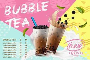 trendy bubble tea-menu met kleurblokkering vector