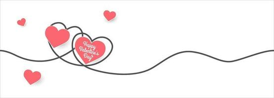 valentijnsdag banner met papier gesneden harten en doodle lijn vector
