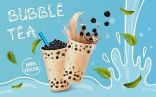bubble tea cartoon splash en bladeren advertenties vector
