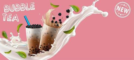 bubble tea cups in splash met bladeren op roze vector