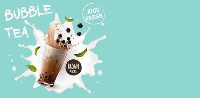 bubble tea op melk splash poster met kopie ruimte vector