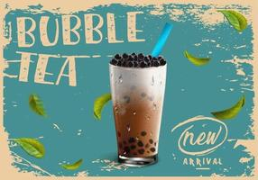 bubble tea nieuwe aankomstadvertentie in vintage grunge-stijl vector
