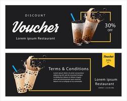 bubble milk tea voucher sjabloon set vector