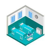 isometrische ziekenhuiskamer op wit