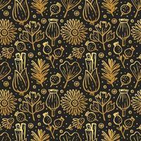 gouden kruiden, bosplanten op zwart naadloos patroon vector