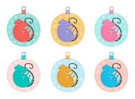 hand getrokken muizen in kerstboom ornament vector