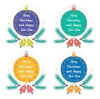 kleurrijke kerstornamenten met klokken, twijgen en belettering vector