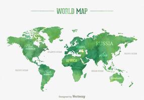 Vector Waterverf Wereld Kaart