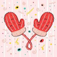 wwoolen gebreide wanten op kleurrijk confettipatroon