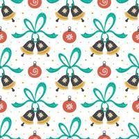 hand getrokken jingle bells, linten en kerstspeelgoed patroon