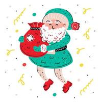 hand getekend kerstman met huidige zak vector