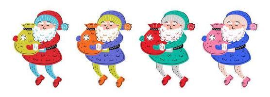 kleurrijke hand getrokken kerstman set