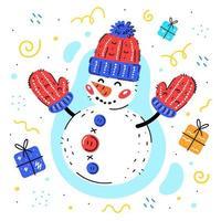 sneeuwpop met wollen gebreide muts en wanten met geschenken