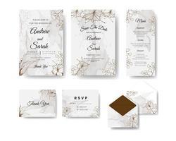 bruine bloemen lijntekeningen en aquarel bruiloft inviyation set