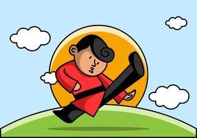 Wushu Fighter toont zijn vaardigheid