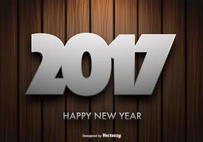 Vector Houten Achtergrond Met 2017 Nieuwjaar Bericht