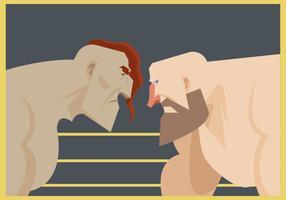 Twee worstelaar klaar om vector te vechten