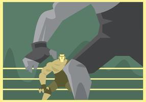 Twee worstelaars bereiden zich voor om vector te vechten