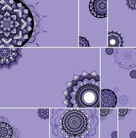 paarse mooie mandala ontwerpset