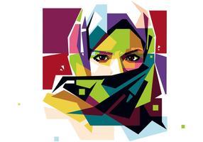 Hijab Vrouw Vector WPAP