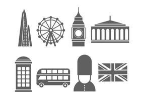 Gratis Londense oriëntatiepunten en iconen vector
