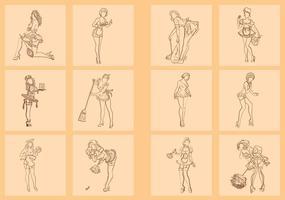 Hand Getekend Van De Franse Maid vector