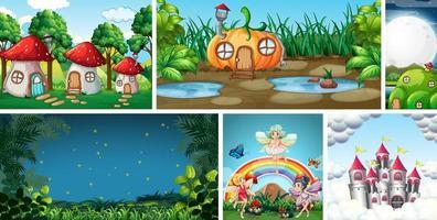 zes verschillende scènes uit de fantasiewereld