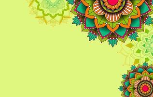 groene achtergrond sjabloon met mandala