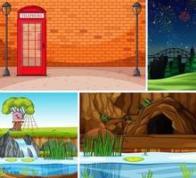 vier verschillende scènes in cartoonstijl