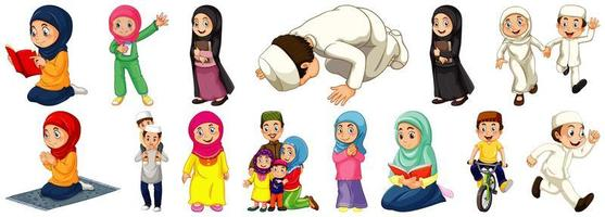 set van verschillende moslimmensen stripfiguur