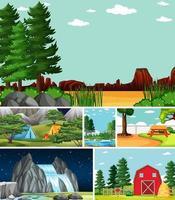 zes verschillende scènes in de natuur