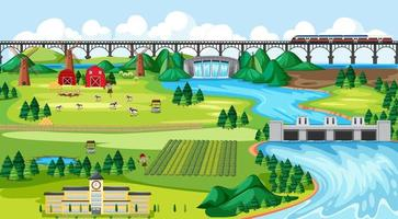 boerderij veld stad, school, brug en dam